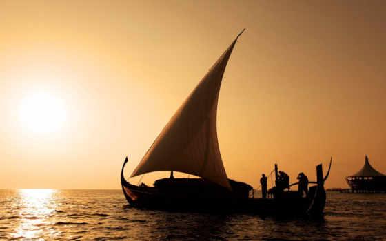 лодка, море, sail