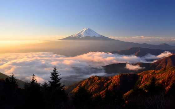 горы, гора, full, japanese, фудзияма, higher, одинокая, облаков, landscape,