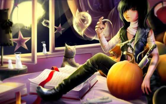 anime, art, книги, кот, парень, комната, бинты, окно, halloween, тыква, волосы,