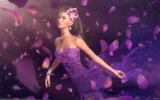 девушка, andrius, balciunas, art, цветы, лепестки, платье,