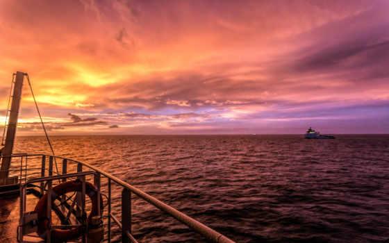 лодка, desktop, рыбалка, закат, фон, ocean, gorgeous, wide, со,
