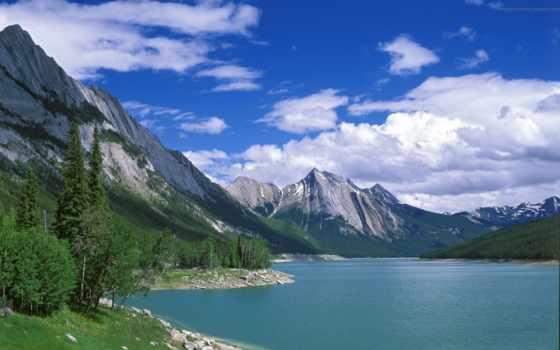 горы, озеро, деревья