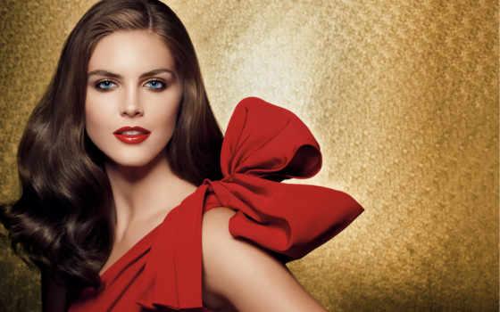 платье, красного, макияжа