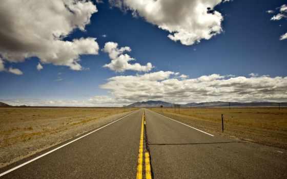 дорога, горизонт, небо, route, холмы, oblaka, пустыня,