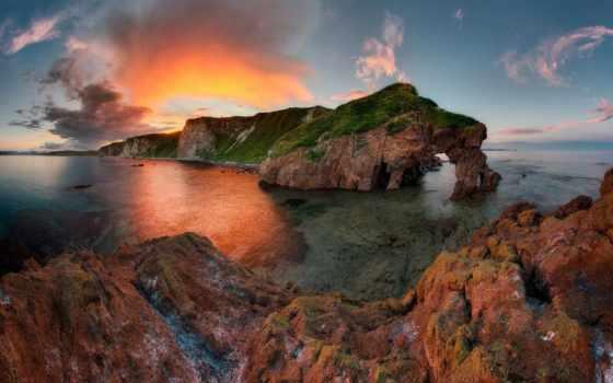 побережье, море, rock, приморье, edge, небо, фотосайт, моря, японского, desktop,