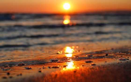 закат, море, sun, природа, река, волна, water, боке, rays, страница,