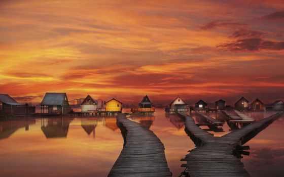 озеро, bokodi, hungary, houses, закат, рыбалка, arturas, hutoto, oroszlány,