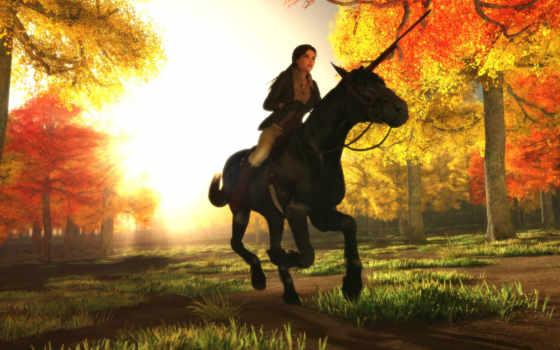 лошадь, наездница, лара, croft, tomb, raider, nicobass, девушка, осень,