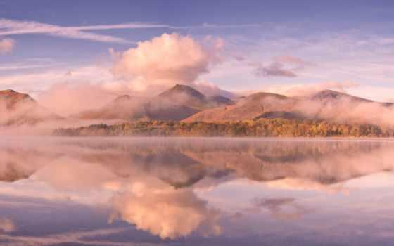 отражение, озеро, картинка, clouds, осень, mountains, landscape, trees, water, snowdonia, великобритания,