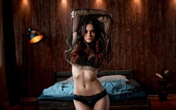 lingerie, motta, женщина, underwear, portrait, retrato, cama, комната, кровать, cute