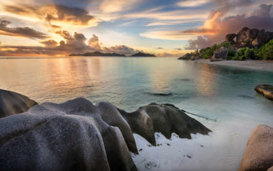 закат, słońca, море, landscape, побережье, tropic, дерево, seszele, palm, облако, sun