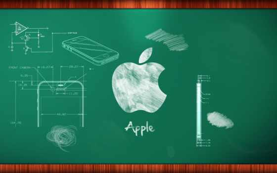 apple - drawings on the desk