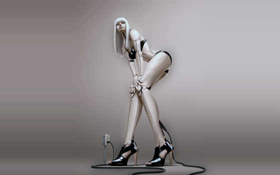 женщина андроид заряжается