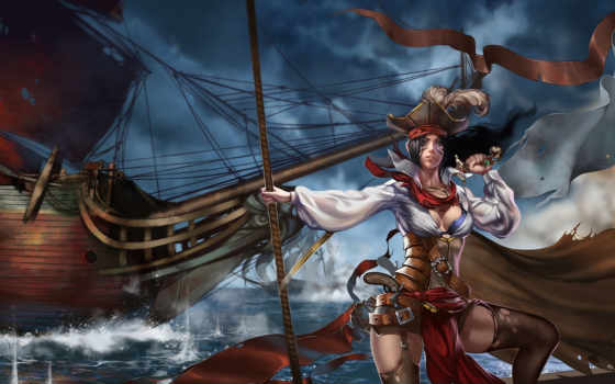 пиратка, девушка, море