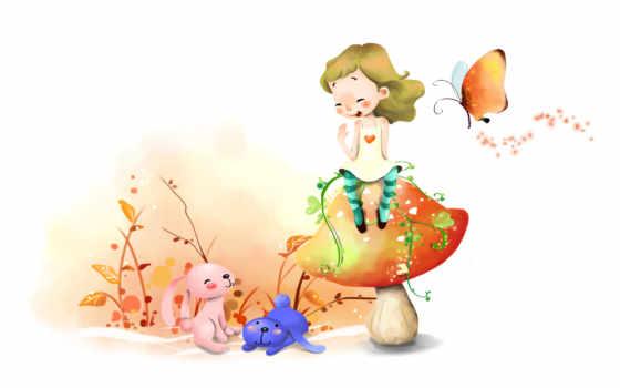 нарисованные, девочка, зайцы, гриб, бабочка, цветы