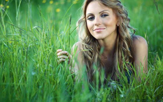 девушка, траве, девушки