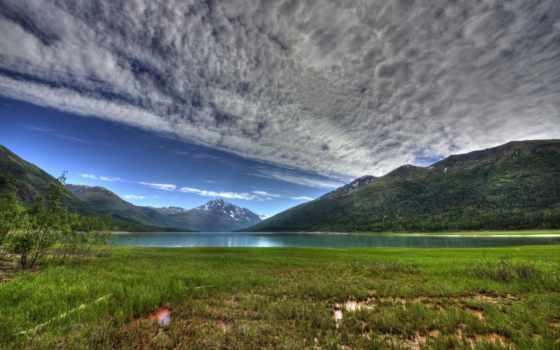 озеро, аляска, eklutna, mountains, горы, oblaka, park,