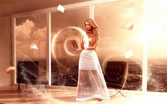 магия, девушка, fantasy, art, креатив, платье, white,