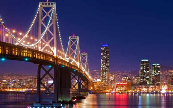 мост, sana, francisco, ночь, огни, золотые, яndex, gate, сша, город,