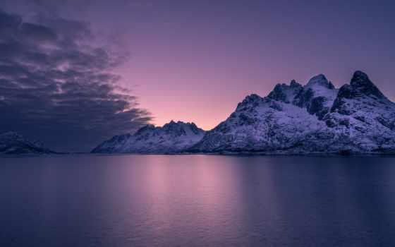 purple, закат, горы, архипелаг, горизонт, море,