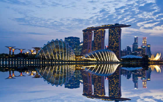 singapore, сингапур, bay, gardens, sky, skyscrapers, evening, architecture, lights, reflection, город, clouds, огни, отражение, wallpaper, city, hd,