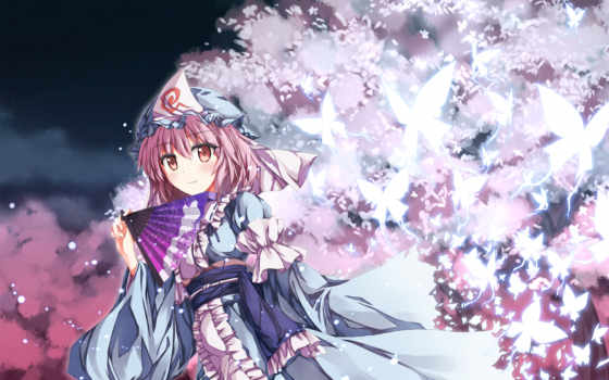touhou, anime, yuyuko, saigyouji, pink, dress, tags, hair, flowers, girls,