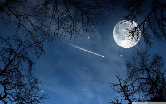 луна, когда, звезды, звезда,