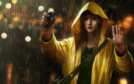 дождь, девушка, дождем