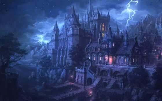 castle, fantasy, замки, ночь, lightning, pier, огни, fortress, water,