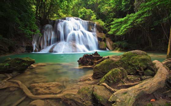 водопад, фотообои, лесу, nat, природа, лес, print,
