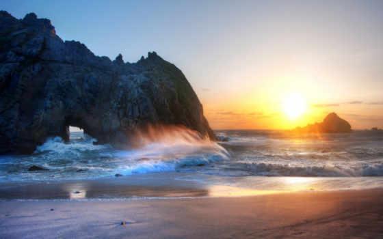 закат, пляж, ocean, море, песок, waves, берег, небо, скалы, природа,