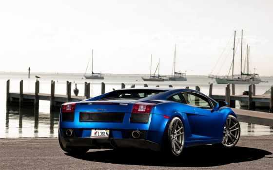 lamborghini, gallardo, car, blue, фотообои,