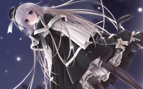 sora, yosuga, аниме, кролик, девушка, игрушка, шляпа, картинка, black, одиночество,