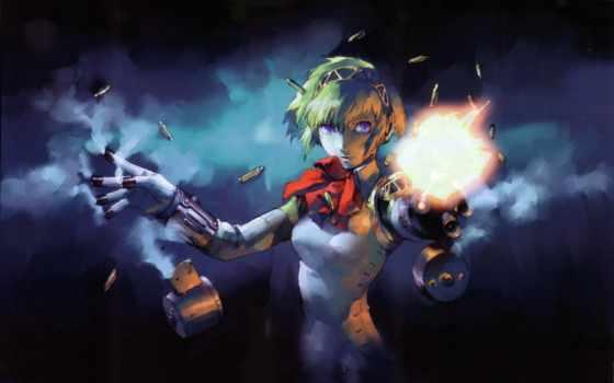 девушка, робот, оружие