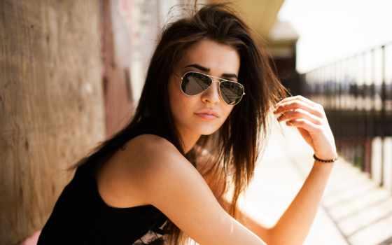 очки, девушка, ветер