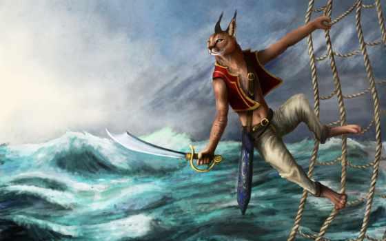 рысь, море, fantasy