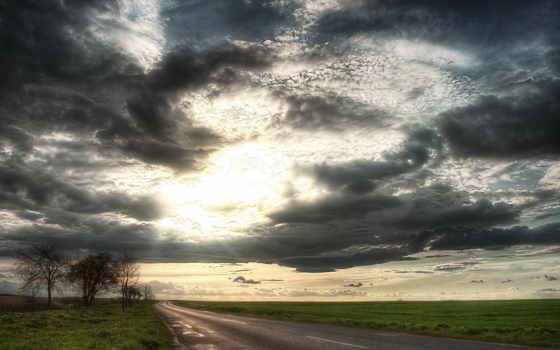 небо, картинка, дорога