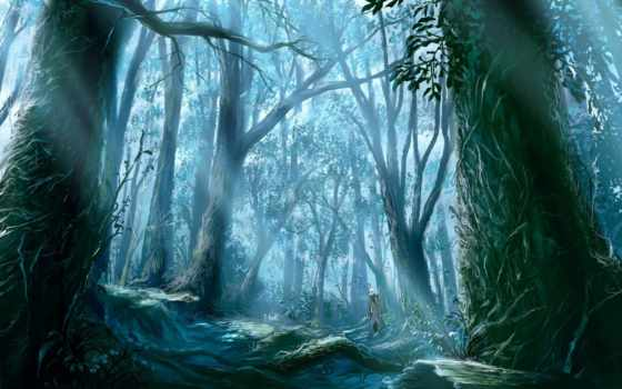 anime, лес, картинка