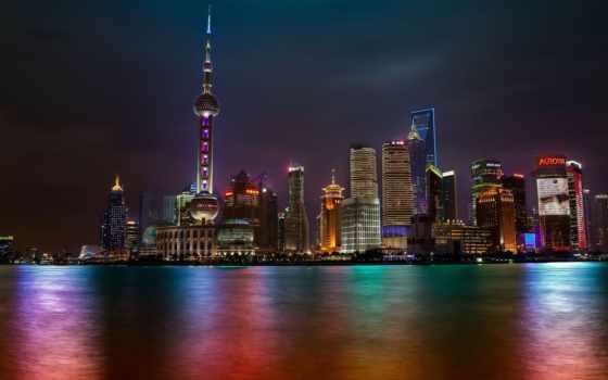 shanghai, ночь, skyline