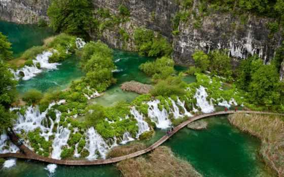 водопады, плитвицких, озер, хорватия, хорватии, плитвицкие, озера, корабли, национальном, наши,