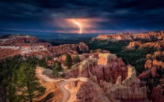 ,каньон, молния, тучи