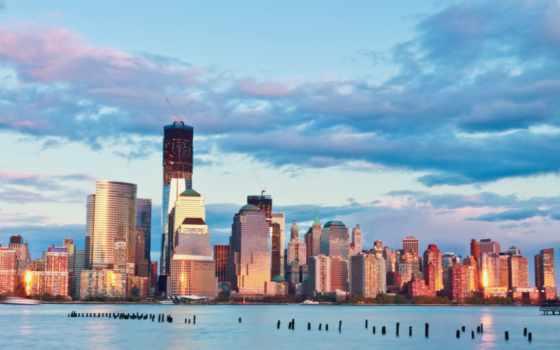 мегаполис, небоскребы, нью, здания, york, new, сша, вечер, usa, город,