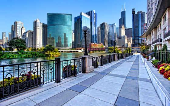 chicago, сша, тротуар, reki, along, недвижимость, real, город,