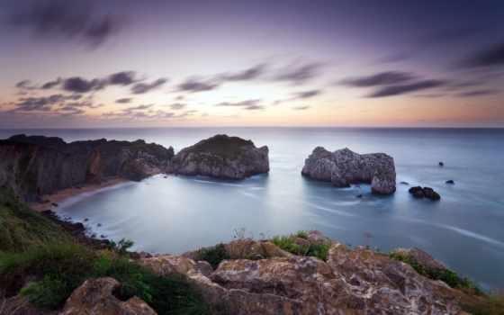 мер, paysage, ecran, marin, côte, ciel, природа, rochers, fond,
