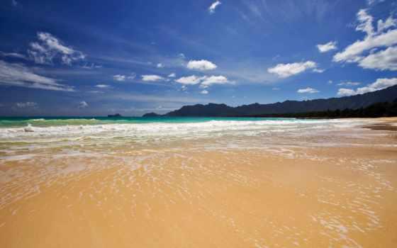 берег, море, песчаный, пляж, природа,