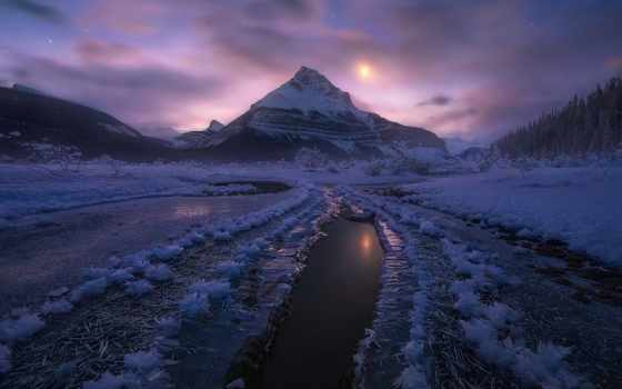park, national, jasper, канада, winter, альберта, снег, mountains, ночь, desktop,