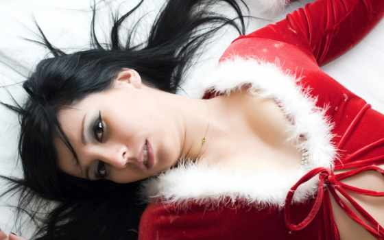 ,, снегурочка, лицо, красный, губа, кожа, красота, прическа, черные волосы, Рождество,