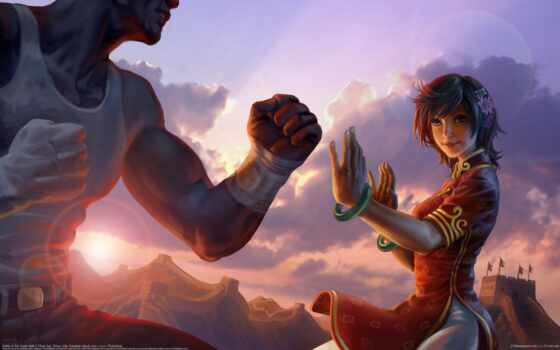 девушка, битва, цветы, drawing, art, китаянка, закат, sun