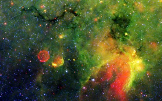 космос, зеленое