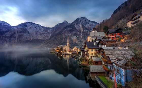 hallstatt, австрия, озеро, альпы, горы, austrian, дома, гальштат, home,